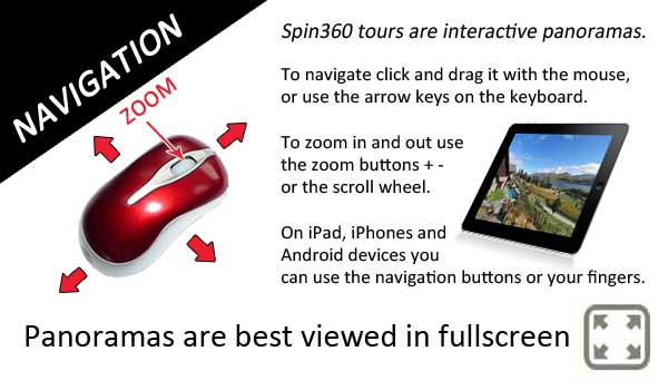 Spin360 virtual tours are interactive panoramas